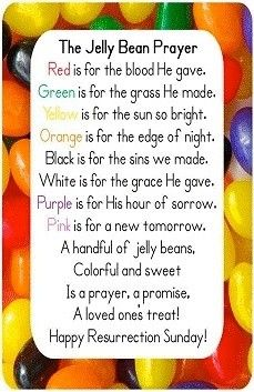 Jelly Bean Prayer -- So many ideas of ways to use this in a classroom!