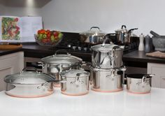 Introducing our Proware Premium Copper Base Cookware - The combination of stainless steel, aluminium and copper in the base means that the pans have the same virtues as the tri-ply pans. The ability of the aluminium and copper to conduct and disperse heat Hot Spots, Modern Family, Cookware, Copper, Kitchen Appliances, Stainless Steel, Base, Website, Products