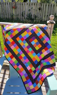 A scrappy quilt created by Sew Yummy using 4 patches and sashing. Very colourful and bright. Great size for a crib quilt or small lap quilt. Scrappy Quilt Patterns, Jellyroll Quilts, Scrappy Quilts, Easy Quilts, Quilt Blocks, Children's Quilts, Amish Quilts, Star Quilts, Sea Turtle Quilts