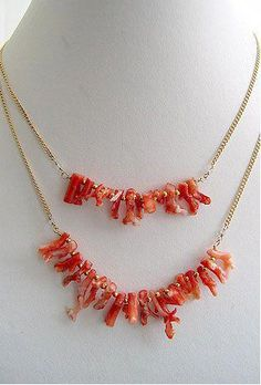 Coral /& Gold Filled Bar Pendant  Natural Orange Red Mediterranean Sea Coral Branches  Jewelry Making Supply DIY  Chain Choker Necklace