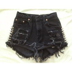 High Waisted Distressed Denim Shorts Grunge Spiked Destroyed Shorts ($45) ❤ liked on Polyvore