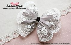 hair clips and bezel with rhinestones, ribbon and lace