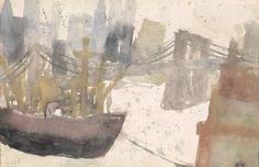 River with Brooklyn bridge. Gouache, August Macke, Emil Nolde, Helen Frankenthaler, Contemporary Paintings, Watercolor Paintings, Watercolors, Illustration, Oil On Canvas
