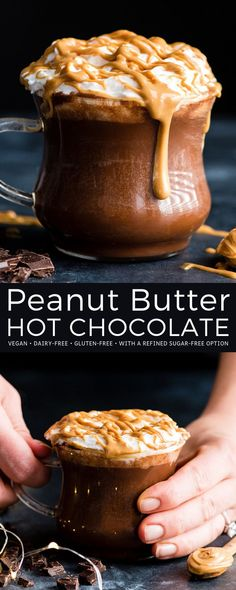 This healthy Homemade Peanut Butter Hot Chocolate Recipe is creamy, chocolatey and bursting with peanut butter flavor! It's vegan, dairy-free, and gluten-free with a refined sugar-free option (but can Peanut Butter Hot Chocolate Recipe, Vegan Hot Chocolate, Homemade Peanut Butter, Homemade Hot Chocolate, Peanut Butter Recipes, Hot Chocolate Recipes, Peanut Butter Coffee, Sugar Free Hot Chocolate, Homemade Snickers