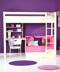 teen girls loft bed with desk | TRENDY 29 NATURAL PINE LOFT BED WITH DESK & FUTON.