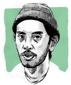 Portraits of skaters by illustrator Joel Benjamin