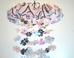 Damask Flower Mobile (Pink White Black) Nursery Decor, Baby Shower Gift, Chandelier, Photo Prop