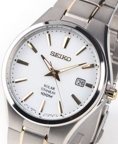 Seiko Men's Solar Titanium Watch - In Stock, Free Next Day Delivery, Our Price: Buy Online Now Seiko Titanium, Titanium Watches, Seiko Solar, Seiko Men, Seiko Watches, 100m, Delivery, Free
