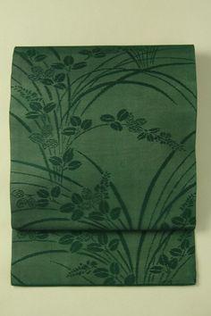 Deep green nagoya obi / 深緑色 萩の花柄 紗全通名古屋帯#Kimono #Japan http://global.rakuten.com/en/store/aiyama/