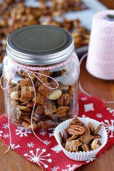Gingerbread Chex Mix Recipe -- you'll love this gingerbread-flavored take on the classic Chex mix recipe that can be made in the microwave in under 15 minutes! #ChexPartyMix