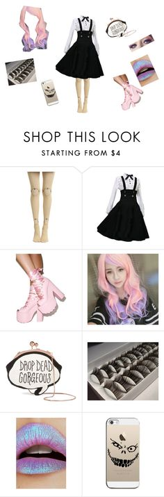 """""""Pastel Goth"""" by bossawsome16 ❤ liked on Polyvore featuring Y.R.U., Clair Beauty, Sophia Webster, Lime Crime and Casetify"""