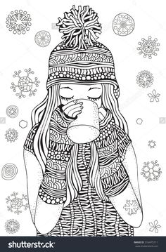 Winter Girl And Gifts Winter Snowflakes. Adult Coloring Book Page. Hand-Drawn Vector Illustration. Pattern For Coloring Book. Zentangle. A4 Size Coloring Book Page For Adult And Children. - 516475711 : Shutterstock