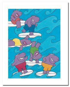 hippos, artists | Surf Hippo Baby Wall Art. - Click Image to Close