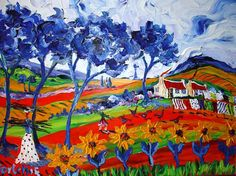 Portchie Acrylic Paintings, Landscape Paintings, Flower Landscape, South African Artists, Naive Art, Creative Things, Pretty Art, Pretty Pictures, Impressionism