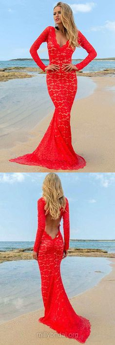 Red Prom Dresses, Trumpet/Mermaid Formal Dresses, V-neck Evening Dresses, Sweep Train Lace Party Gowns, Backless Long Sleeve Prom Dresses