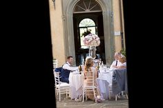 Stunning wedding reception with floral table centres. Groomswear by Louis Copeland & Sons. Photography by: Ros from Couple Photography. Table Centers, Couple Photography, Florence, Real Weddings, Wedding Reception, Couples, Tuscany Italy, Sons, Floral