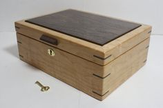 Locking Cherry Wood Box With Walnut Lid. Valet, Jewelry, Stationary, Keepsake…