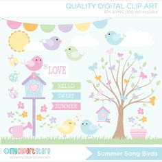 Clipart Summer Song Birds / Spring Garden by MyClipArtStore