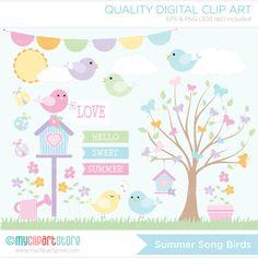 Clipart Summer Song Birds / Spring Garden by MyClipArtStore