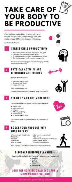 Check these facts about productivity and health and discover simple things that can make a huge impact in your efficiency.