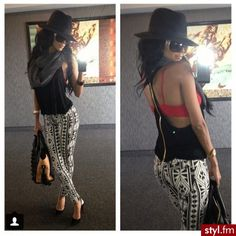 tank top, leggings, fedora, sunglasses, heels or sandals, and sports bra provides pop of color