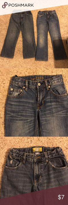 2-for-1 Boys Jeans! 2 pair of boys' jeans. Both are bootcut. One pair is Old Navy & the other is Gap Kids. The Old Navy pair, size 8, can be adjusted at the waist. The Gap Kids pair is an 8 Slim. There is one tear at the knee in this pair, but it's not too big. 2 great pair of jeans for the price! GAP Kids & Old Navy Bottoms Jeans