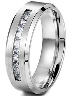 Mens Jewelry lowest price  Jstyle Jewelry 8MM Titanium Rings for Men Wedding Engagement Rings Promise Size 8-14