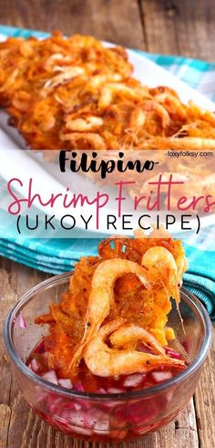 Ukoy is a Filipino crunchy shrimp fritter enjoyed as appetizer or snack. This easy ukoy recipe uses sweet potato. Filipino Appetizers, Filipino Recipes, Asian Recipes, Ethnic Recipes, Filipino Shrimp Recipe, Shrimp Recipes, Beef Recipes, Food Shrimp