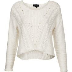 TOPSHOP Knitted Mix Stitch Crop Jumper ($28) ❤ liked on Polyvore featuring tops, sweaters, shirts, jumpers, blusas, cream, white crop top, cream sweater, white cable sweater et white sweater