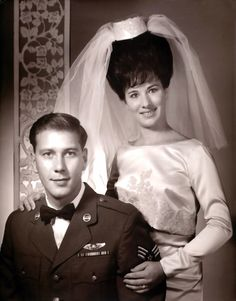 1965 bride and groom - check out her hair!