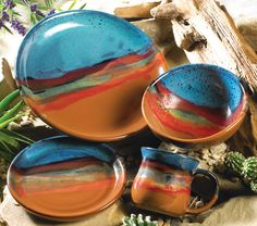 View our huge inventory of rustic dinnerware in stock and ready to deliver at Lone Star Western Decor. Get great savings today on this Azul Scape Pottery Dinnerware! Southwestern Home, Southwest Decor, Southwestern Decorating, Southwest Style, Southwest Pottery, Western Style, Rustic Dinnerware, Stoneware Dinnerware, Ceramic Tableware