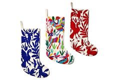 "17"" Hand Embroidered Stocking, Blue 