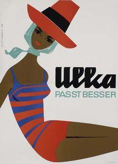Ulka Vintage Swimwear / Bathing Suit Ad 1964  Atelier Hofman