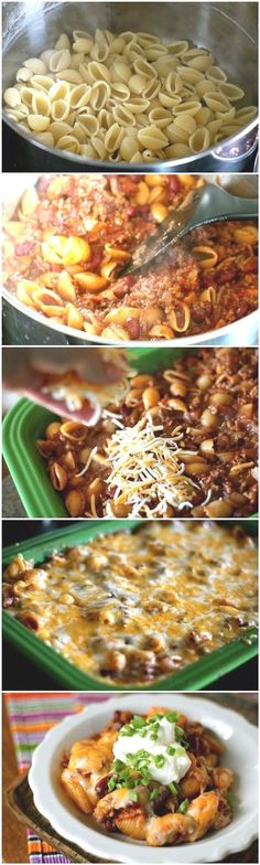 Chili Pasta Bake that's perfect for a dinner dish for chilly weather!