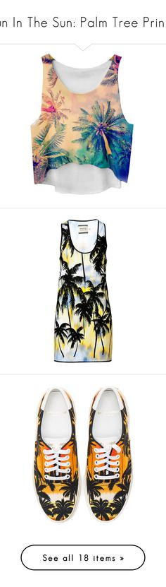 """""""Fun In The Sun: Palm Tree Prints!"""" by polyvore-editorial ❤ liked on Polyvore featuring palmtreeprints, tops, scoop neck sleeveless top, palm tree tank, sleeveless tank, scoopneck top, palm tree tank top, dresses, multicolor and loose black dress"""