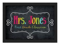 Custom Printable PDF File DIY Colorful Teacher Name Sign Letters School Gift Classroom ChalkDecor Wall Art Door via Etsy