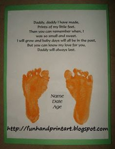 Handprint and Footprint Arts & Crafts: Footprint Keepsake Gift For Dad with a Daddy Poem