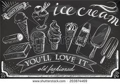 hand-drawn ice cream set on chalkboard - stock vector