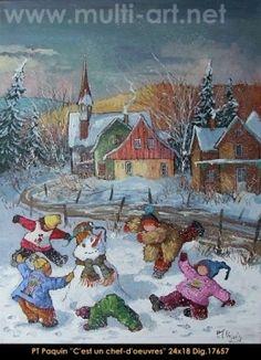 Dig: 17657- Pauline Paquin Old Shows, Winter Art, Pablo Picasso, Beautiful Paintings, Snowmen, Quebec, Belle Photo, Oeuvre D'art, Gabriel