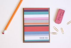 Don't forget the Thank You's! Striped Thank You Greeting Card by PuddleduckPaperCo on Etsy #HonestBabyShower