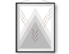 Printable Art, Grey Copper Print, Scandinavian Art, Geometric Design, Minimalist Wall Print, 8x10in Art Print, Nursery Art, Print Avenue