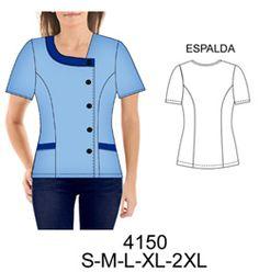 Delantales Scrubs Outfit, Scrubs Uniform, Corporate Uniforms, Medical Scrubs, Dress Sewing Patterns, Diy Clothing, Pattern Fashion, Shirt Blouses, Chef Jackets