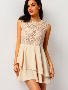 Online shopping for With Zipper Blush Lace Insert Flare Apricot Dress from a great selection of women's fashion clothing & more at MakeMeChic.COM.