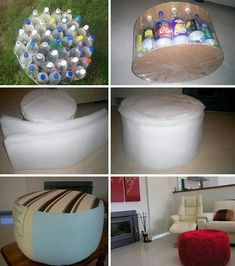 Ottoman from recycle soda bottles
