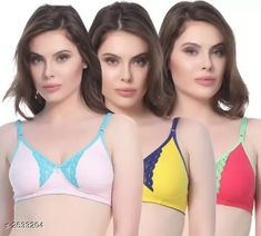 Checkout this latest Bra Product Name: *Comfy Women's Cotton Blend Solid Bras (Pack Of 3)* Sizes: 28B, 30B, 32B, 34B, 36B, 38B, 40B Country of Origin: India Easy Returns Available In Case Of Any Issue   Catalog Rating: ★4.1 (1375)  Catalog Name: Women's Cotton Lace Bras Combo CatalogID_355917 C76-SC1041 Code: 013-2633204-057