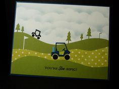 Featuring Memory Box's Mini Golf Carts SKU 506202 and Golf Club Landscape SKU 694026.  Available at www.addictedtorubberstamps.com  Card created by Ink-Creatable WOH on Splitcoaststampers.