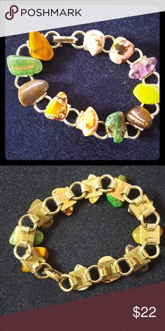 Boho chic natural gemstone bracelet ♡ from nature This fun bracelet is made of polished gemstones.   Rhodocrosite Rhodonite Malachite Smoky quartz Tiger eye Green aventurine  Yellow quartz Amethyst  Agate   ♡See my other listings 4 more awesome finds!♡  Bundle for a special offer! 💰💲 From a smoke-free and pet-friendly home.🐩🐈  ⚠️Listed with a brand for exposure.⚠️ Jewelry Bracelets
