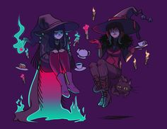 cryptovolans:  ellenalsop:  felt like playing around & drawing me and emily'switchsonas being moody witches  WE'RE ADORABLE >:3thes...