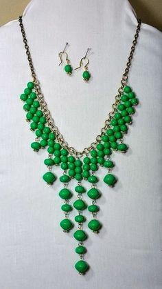 Green beaded bib necklace