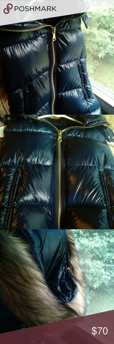 DOWN  NWOT! VINCE CAMUTO HOODED FUR PUFFER VEST New w/ out tag. Please see tag for material. Faux fur detachable hood. Vince Camuto Jackets & Coats Vests